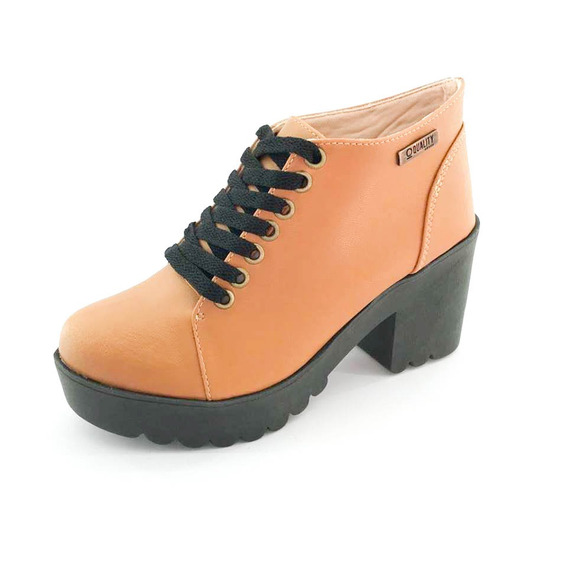 Bota Coturno Quality Shoes Feminina Amendoa