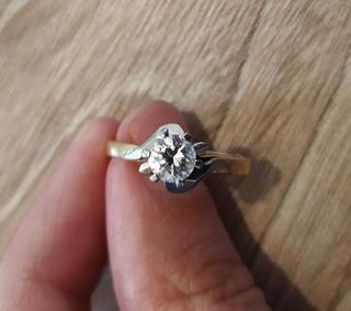 Anillo Oro 18k Con Diamante Brillante 0,50 Qte Compromiso