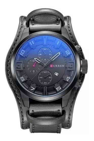 Relógio De Pulso Masculino Curren 8225 Casual Preto Original