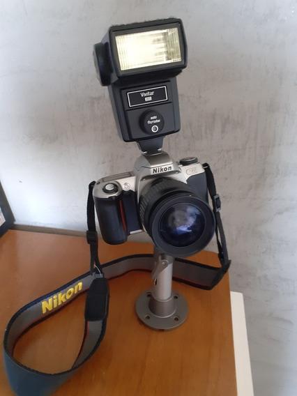 Máquina Fotográfica Nikon Com Flash Vivitar, Bateria Nova !