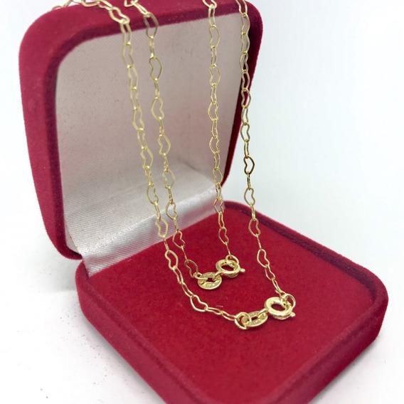 Corrente Gargantilha 45cm + Pulseira Coração Banhado A Ouro 18k - Belo Colar