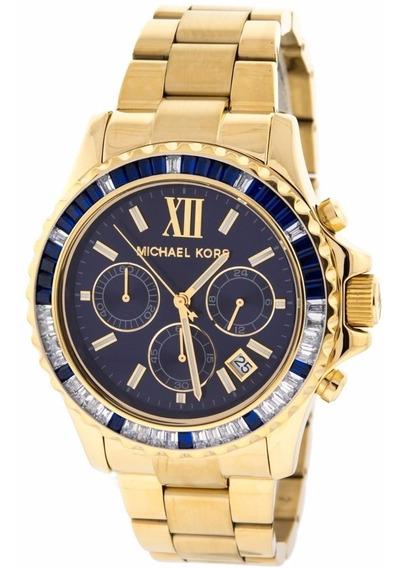 Relógio Michael Kors Mk5754 Everest Dourado Azul Original