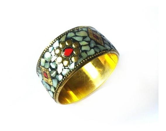 Bracelete Indiano Pedras Naturais Bronze Importados