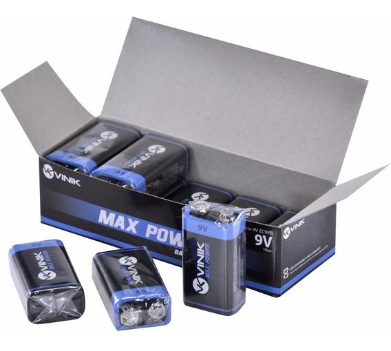 Bateria 9v Max Power Caixa Com 10un Zinco Quadrada Vinik