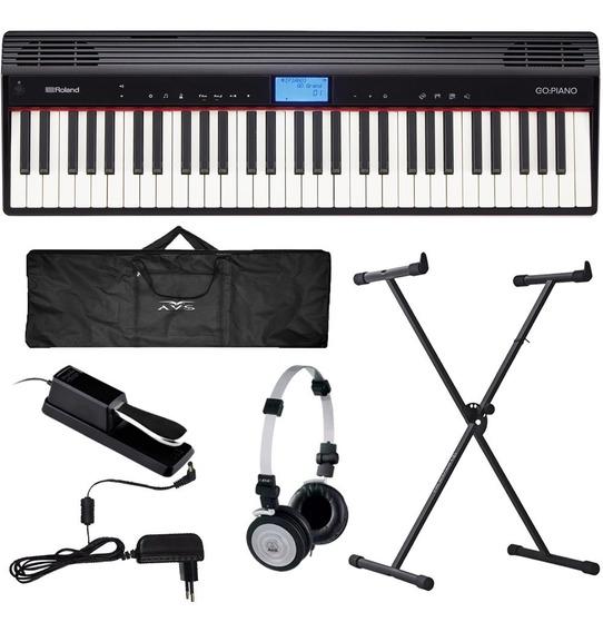Piano Digital 61 Teclas Go 61p Roland Bluetooh Go61p + Kit