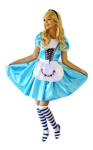 Fantasia Alice No País Das Maravilhas Adulto Com Avental