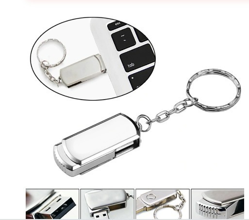 Pen Drive 16gb - Metal Prata Chaveiro Elegância & Qualidade