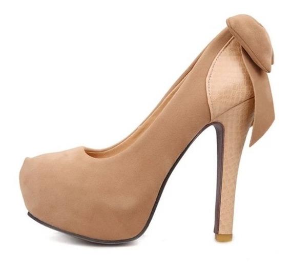 Sapato Importado Feminino Salto Meia Pata Laço Traseiro