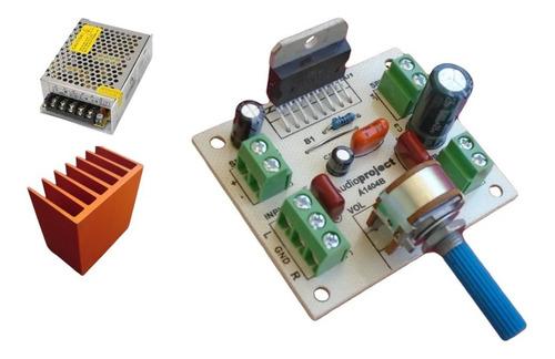 Mini Amplificador Estereo 20+20 Watts Con Fuente Y Disipador