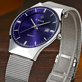 Relógio Masculino E Feminino Wwoor 8016 Ultra Fino De Luxo