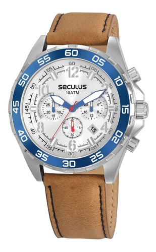 Relógio Seculus Masculino Cronógrafo Prata/bege 20794g0svnc3