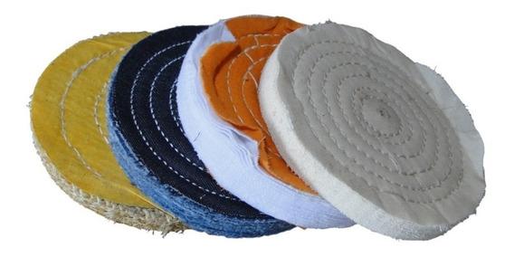 Kit Roda Disco Polimento 6 Pol Sisal Algodão Jeans Flanela
