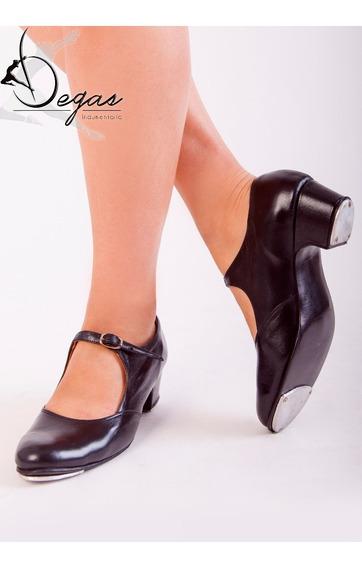 Zapatos Para Tap Danza Cuero Con Chapas Zapateo Americano