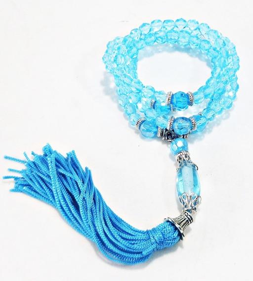 Japamala 108 Contas Cristal Azul Claro 6mm Terço Budista