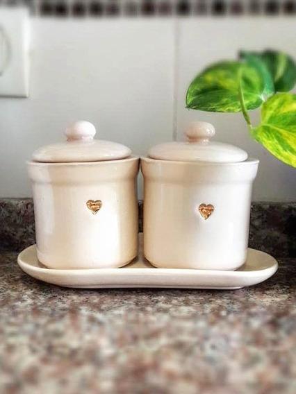 Yerbero Y Azucarero Contenedor De Ceramica Mas Bandeja