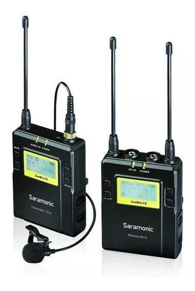 Microfone Lapela Sem Fio Uhf Saramonic Uwmic10 Com Receptor Pronta Entrega- 12x Sem Juros- Envio Imediato- Frete Grátis