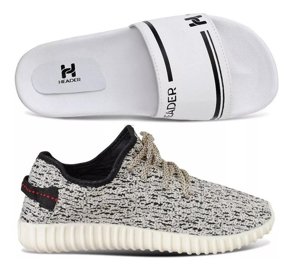 Kit 1 Tenis Masculino Header Yzy Top 2019 + Chinelo Top