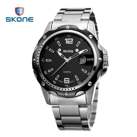 Relógio Masculino Luxo Prata Skone Original Analógico Pontei
