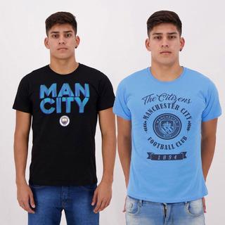 Kit De 2 Camisetas Manchester City Azul E Preta