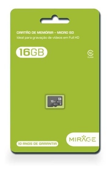 Cartao De Memoria Mirage Para Celular Classe 10 16gb