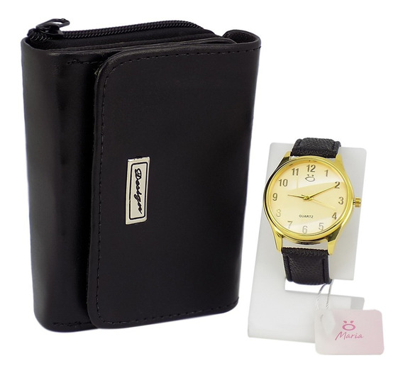 Relógio Feminino Couro Original + Carteira Barato