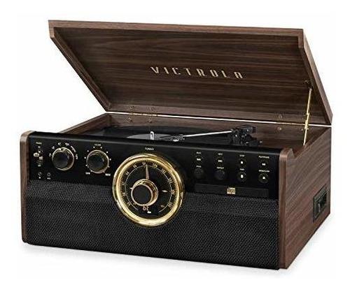 Victrola 6-en-1 Bluetooth De Madera, Grabadora De Discos De