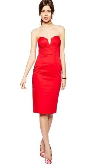 Beauty Gifts Vestido Rojo De Fiesta Noche Sexy Tubo Al Cuerpo Con Tazas Puch Up Importado