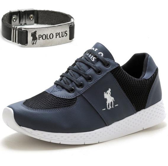 Kit Tênis Jogging Masculino Polo Plus + Pulseira Couro