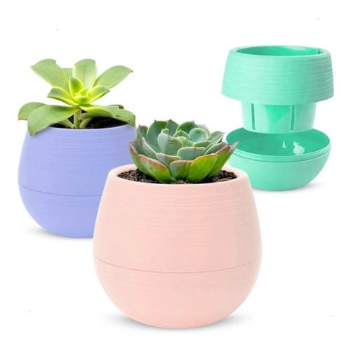 Pack 18 Macetas Autorriego Cactus Suculentas Colores Pastel