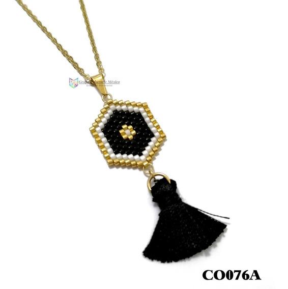 Collar Miyuki Atrapasueños Negro Acero Inoxidable Dorado