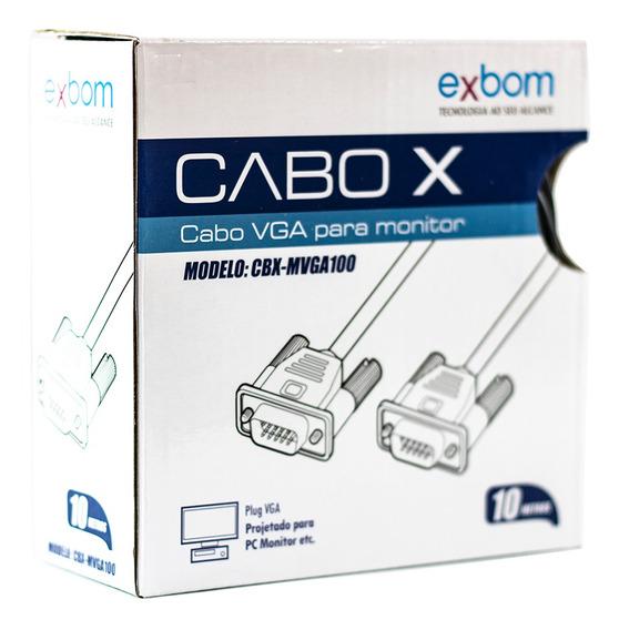 Cabo Vga Blindado 10 Metros Para Monitor Lcd Pc Tv Projetor