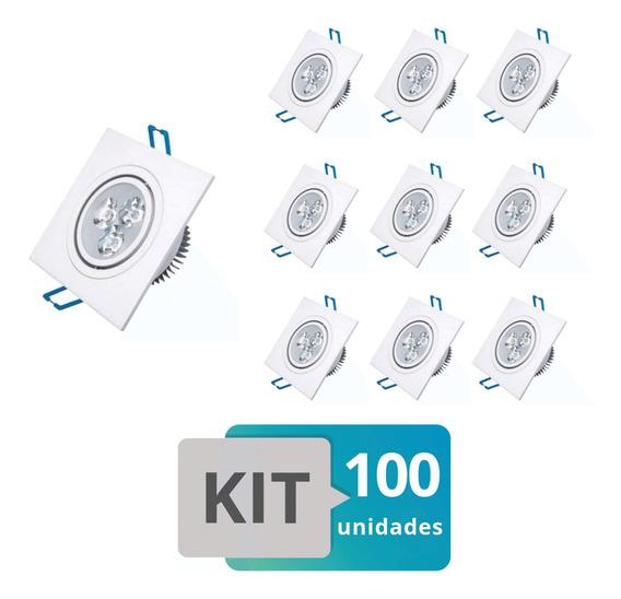 Kit 100 Spot Led Embutir Quadrado 3w Branco Quente