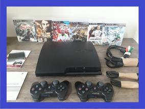 Ps3 Playstation + Jogos + Super Slim + Bivolt + 02 Controle