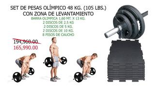 Set Pesas Olímpico 105 Lbs. Barra Discos Y 8 Pisos Lift Zone