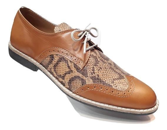 Zapatos De Vestir Víbora Reptil Cuero Vacuno + Par De Medias