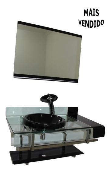 Gabinete Vidro Preto 90cm + Torneira Cascata + Válvula + Sif