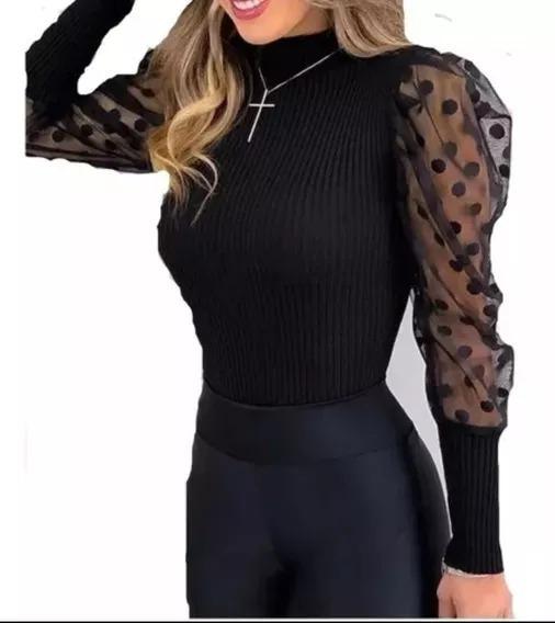 Blusa Cacharrel Manga Longa Trico Tule C/ Poá Feminino Frio