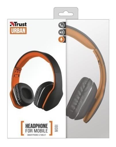 Fone De Ouvido Headphone Trust Urban Mobi Preto E Laranja