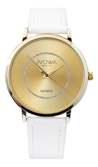 Relógio Feminino Original Nowa Dourado Luxo Com Kit Joias