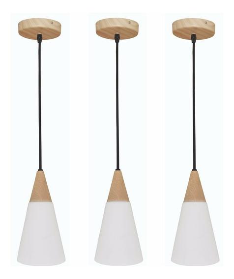 Kit 3 Pendentes Lustre Cone 280 Wood Vidro Madeira G-light