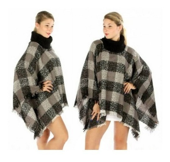 Pala Lã Poncho Quadriculado Feminino Para Encomenda Preto