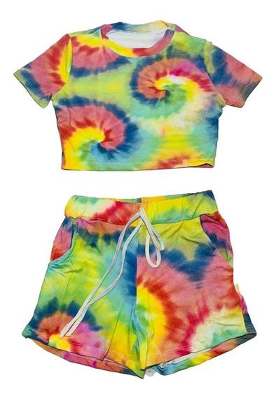Conjunto Blusa E Shorts Bolso Tie Dye Camisa Bermuda Tai Dai