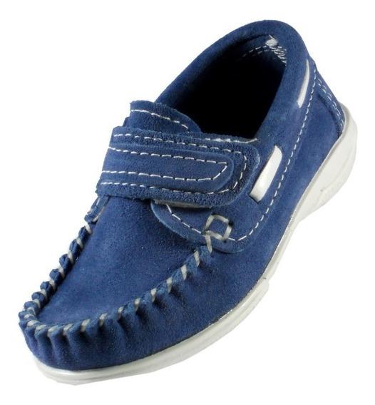 Mocasin Klivers Niño Cuero Gamuzado Azul
