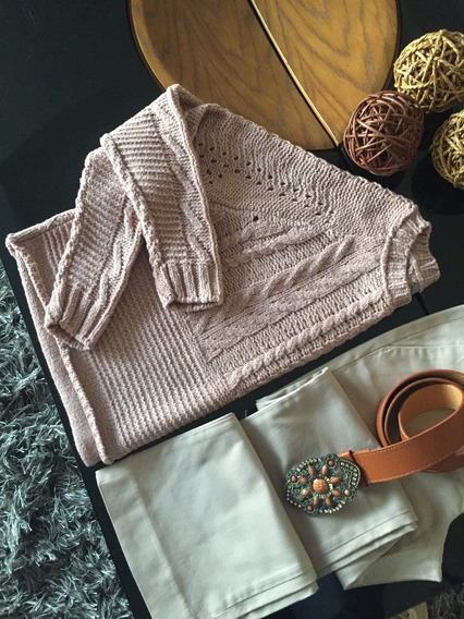 Blusa Feminina Maxi Cropped Tricot Inverno Rose