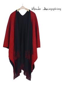 Poncho Xale Peruano Kimono Aberto Bicolor Feminino E Unissex