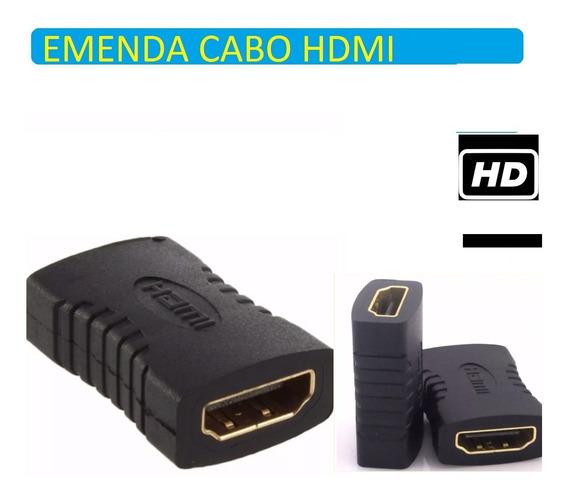 Kit 2 Adaptador Fêmea X Fêmea Hdmi Conector Emenda Sem Perca