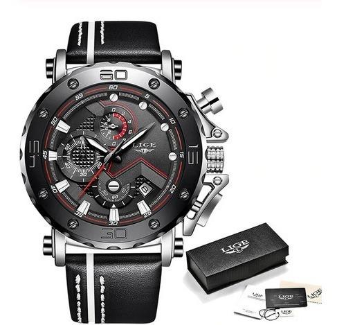 Relógio Lige Luxo Esporte Cronógrafo Couro Original À Prova