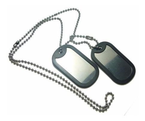 Corrente E Placa Militar Dog Tag Em Aço Inox Lançamento