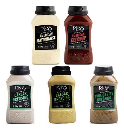 Imagen 1 de 5 de Salsas Kansas Pack Mayonesa Ketchup Mostaza Vinagreta Cesar