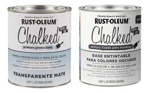 Promo  Lata Pintura Tiza Chalked Blanco Puro + Transparente